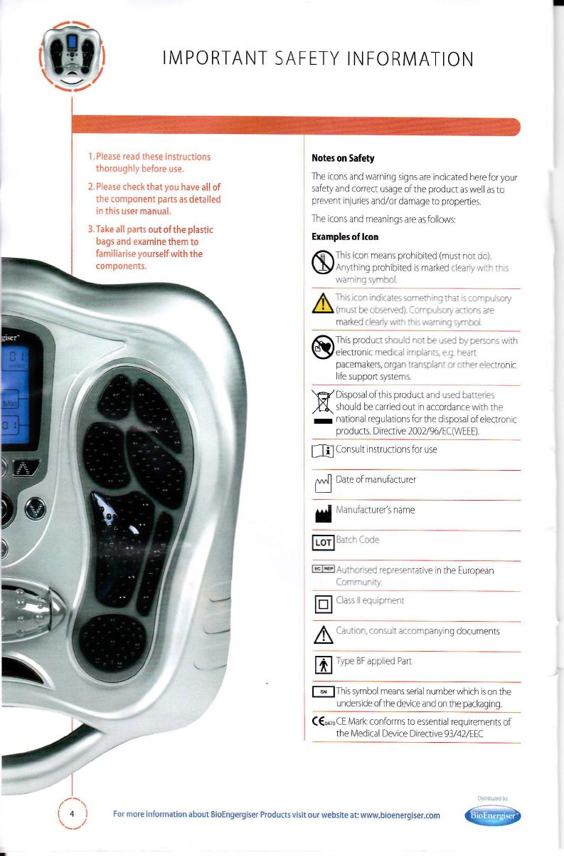 Manual Bio Energiser Electroflex Circulation Massager (page
