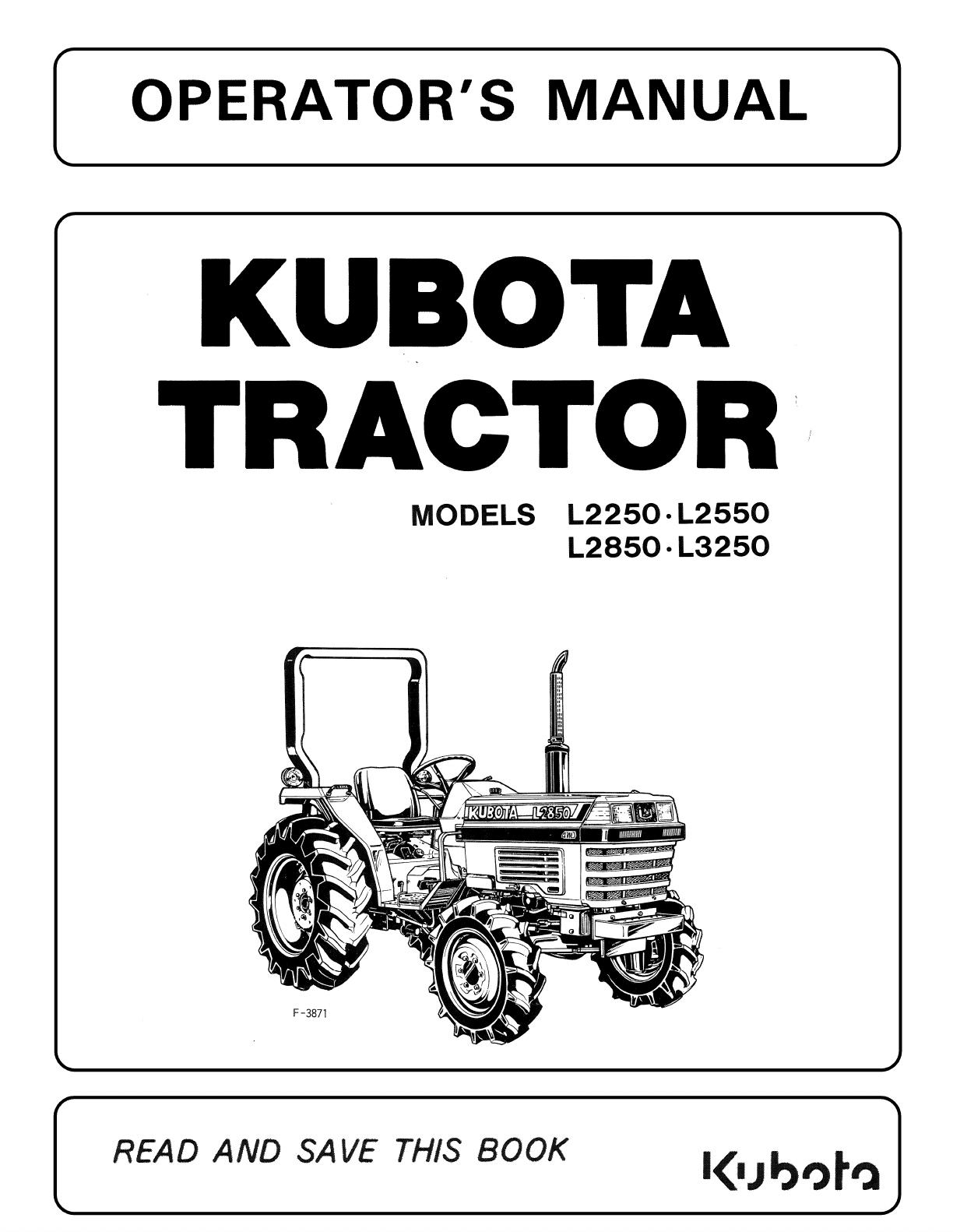 Manual Kubota L3250 Page 1 Of 68 English