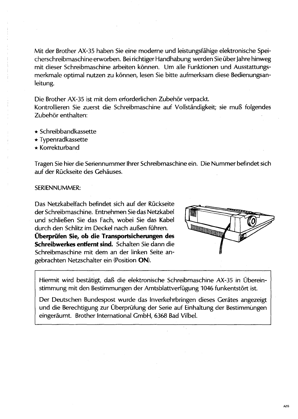 Manual Brother AX35 (page 3 of 82) (German)