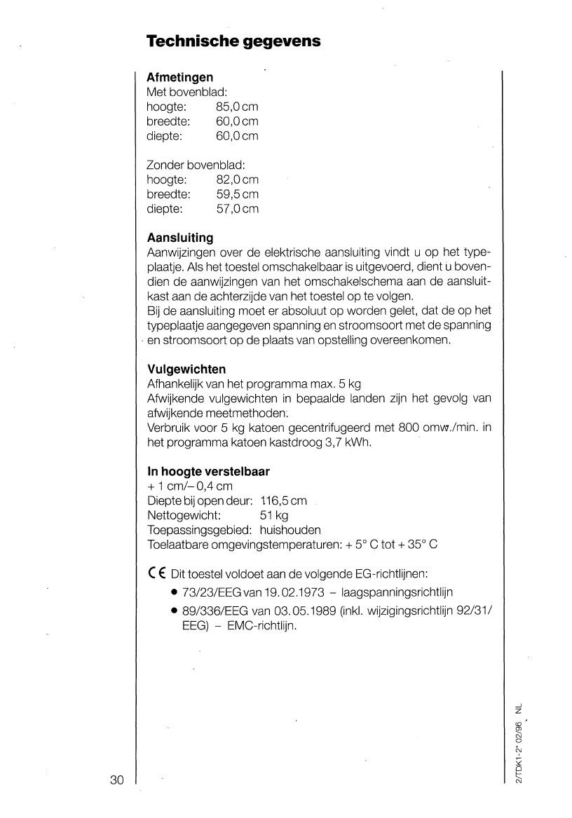 Manual Aeg Electrolux Lavatherm 5300 Page 30 Of 31 Dutch