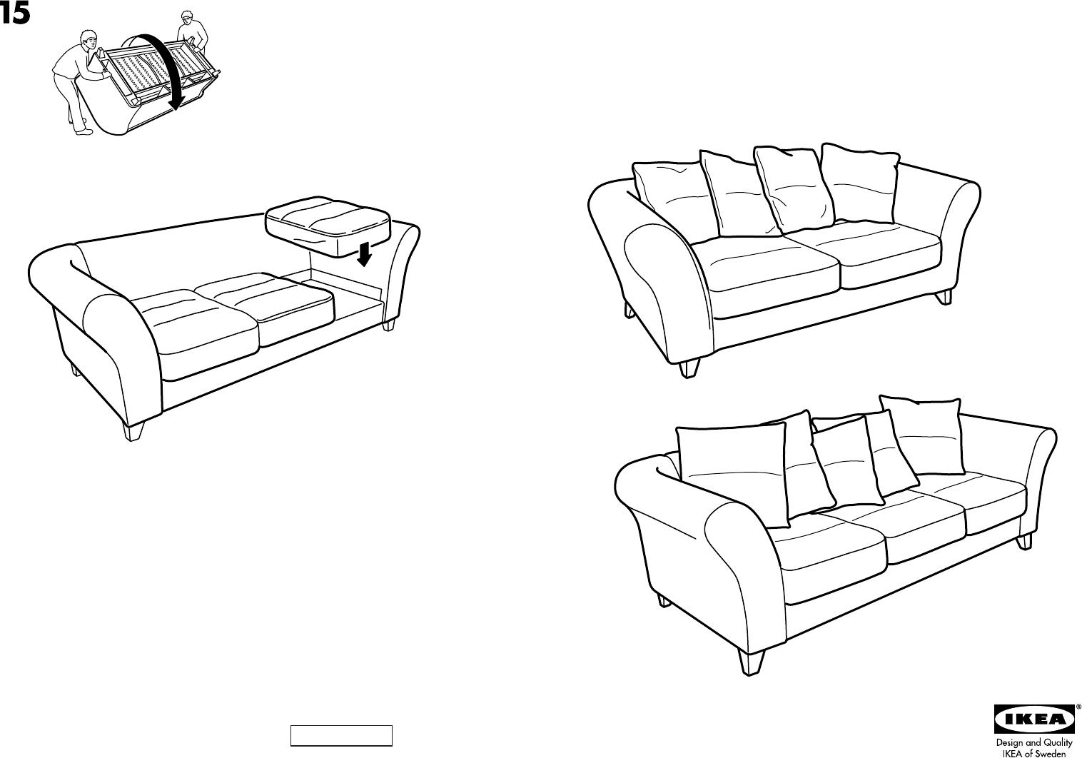 3 Zits Bank Design.Manual Ikea Backa 3 Zits Bank Page 1 Of 8 Danish German