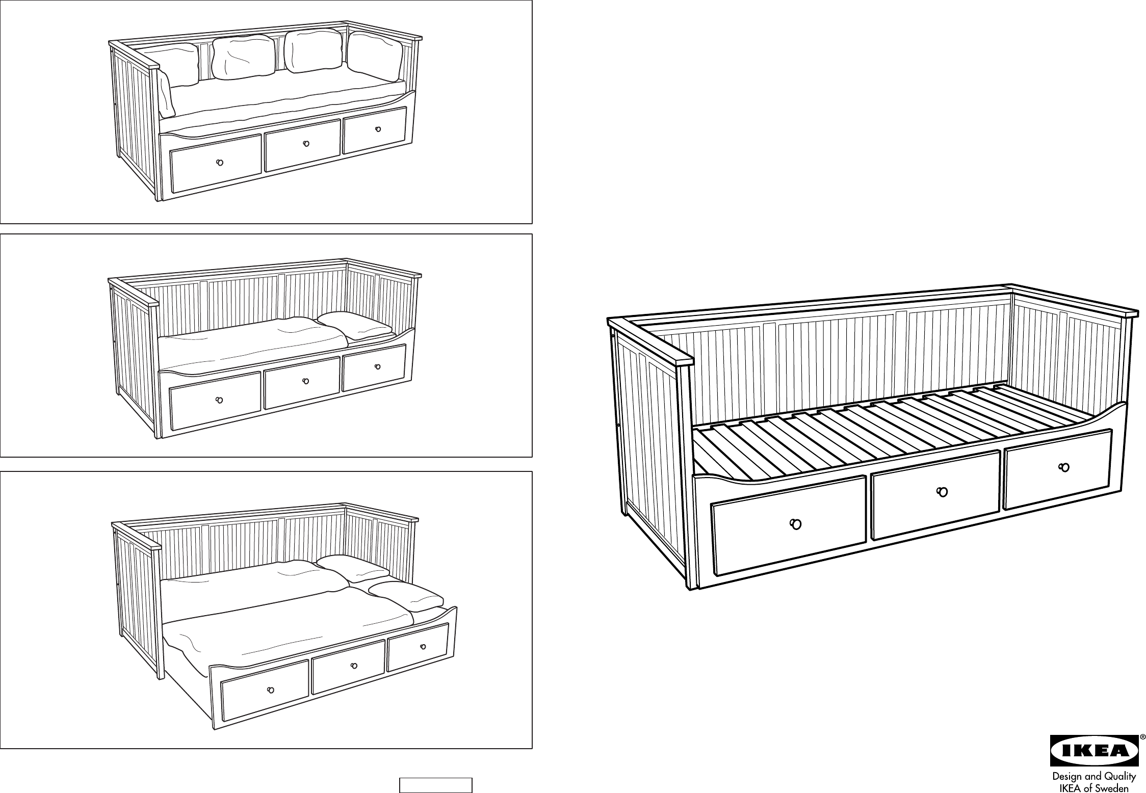 Slaapbank Hemnes Ikea.Manual Ikea Hemnes Bedbank Page 3 Of 12 Danish German English