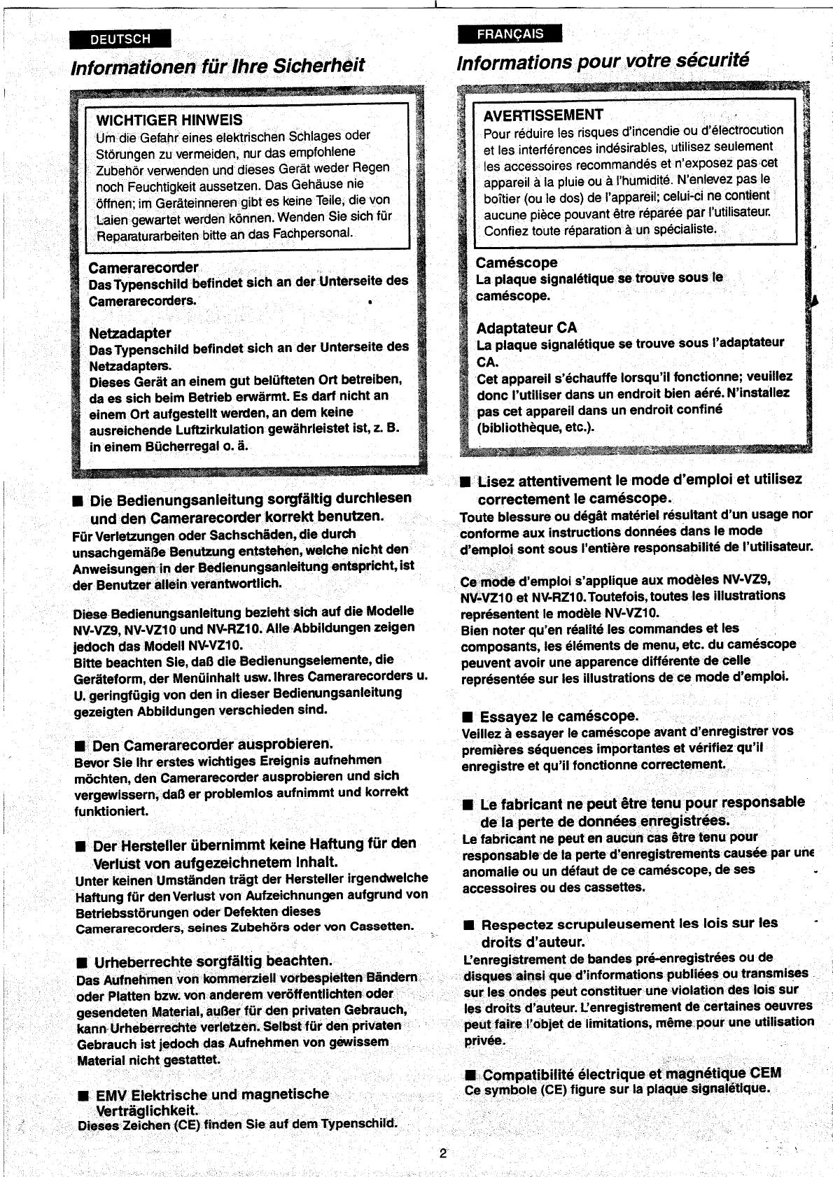 Appareil Magnétique Anti Humidité manual panasonic nv-rz10 (page 1 of 148) (german, french, dutch)